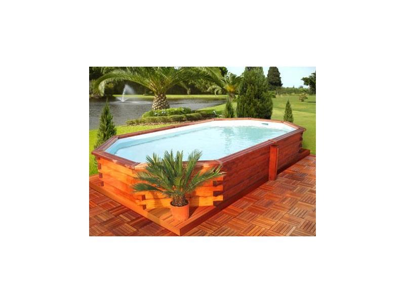 Kit piscine bois exotique minorque tekabois for Kit piscine bois